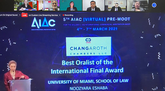 Miami Law Beats 100 Schools to Win Vis Arbitral Pre-Moot; Student Receives Best Oralist Award